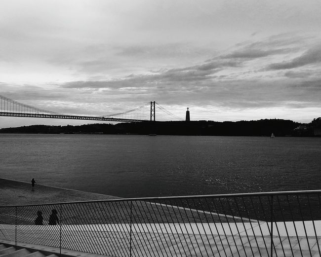 Bridge - Man Made Structure Built Structure Tranquility Suspension Bridge Architecture Day Water Sky Connection Low Angle View Lisbon - Portugal Look At This View! 🍃🌁