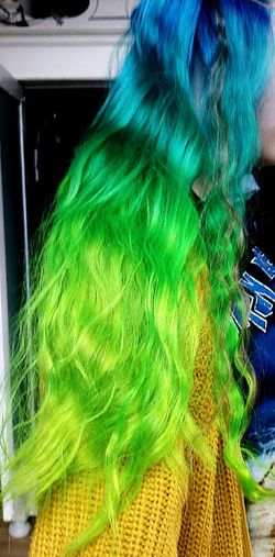 My hair Blue Hair Green Hair Me Model Self Portrait Home