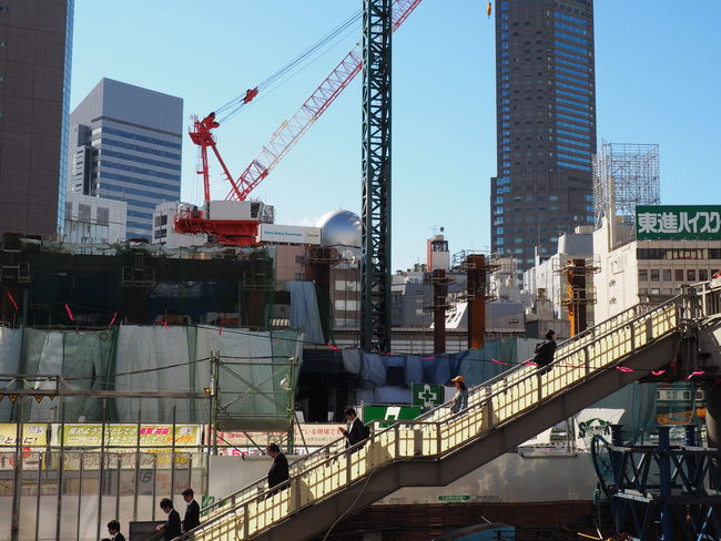 Architecture Bridge - Man Made Structure Building Exterior Built Structure City Cityscape Crane - Construction Machinery Day Development Metal Industry Modern Outdoors People Shibuya,Tokyo Sky Skyscraper Tokyo 2020 Tokyo Olympic