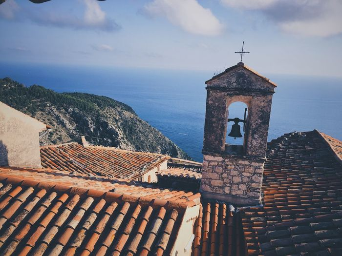 High Angle View Of Old Bell Tower Against Sea