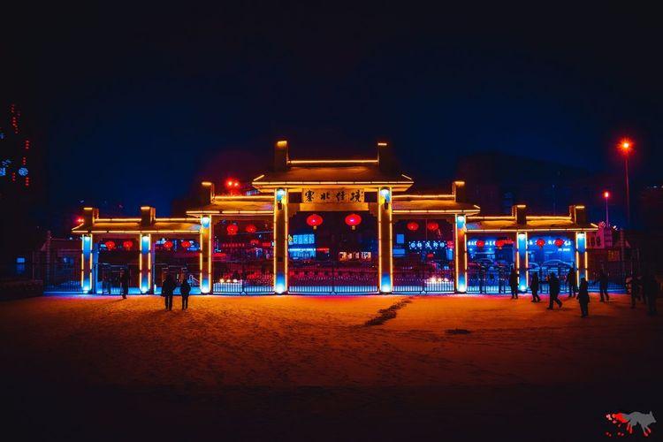 Gate Gateway ворота China китай Illuminated Cold Temperature City Sky Neon Neon Colored