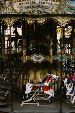 The vintage carousel in the Montmartre in Paris, France. Amusement  Carousel Carrousel Horse Merry Go Round Montmartre Old Paris