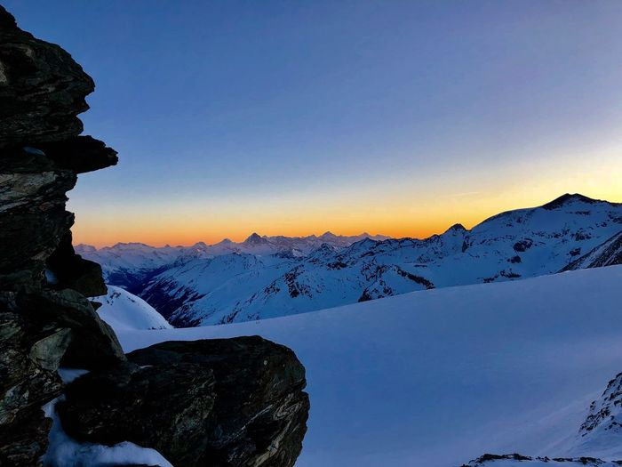 Sunrise Swissmountains  Swiss Alps Valais Val D'Anniviers Winter Mountain Snow Beauty In Nature Tranquility Clear Sky Go Higher