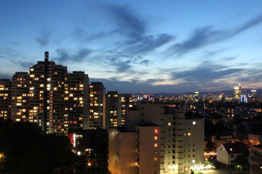 City Life Frankfurt Am Main Night Lights Skyline Frankfurt Darkness And Light High Rise Building Ilumination Sunset
