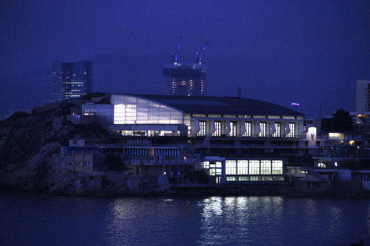 Marseille, France Swimming Pool At Night Architecture Blue Blue Photo Blue Sky Building Exterior Built Structure By Night Cercledesnageurs City Cnm Illuminated Marseille La Belle Modern Nature Night No People Outdoors Reflection River Sky Swimmers Swimmerslife Water