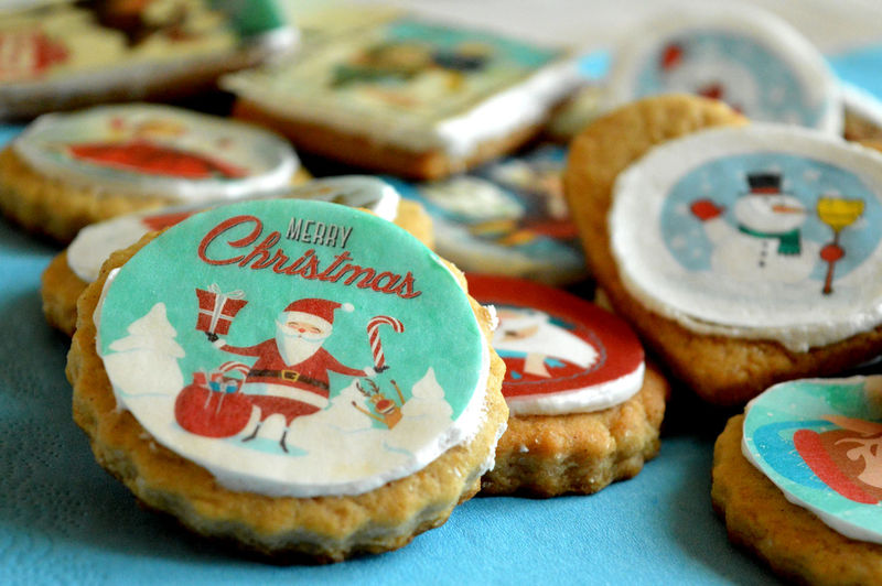 Close-Up Of Cookies During Christmas