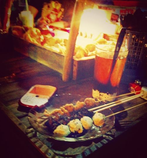 Eating Food Night Lights Indonesia Traditional