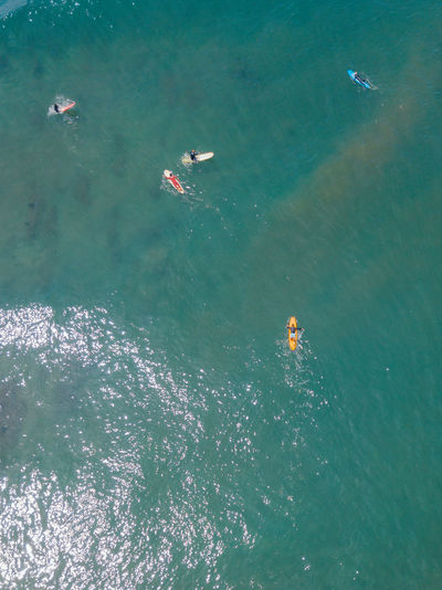 Surfers beach by drone point of view