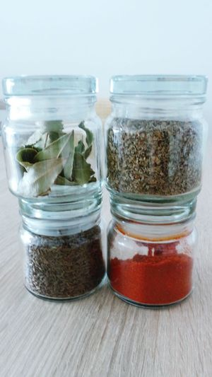 Spicesworld My Spices Food Delicious Cooking Dry Cumin Laurel Leaves Red Paprika Close Up Spices Small Glass Jars