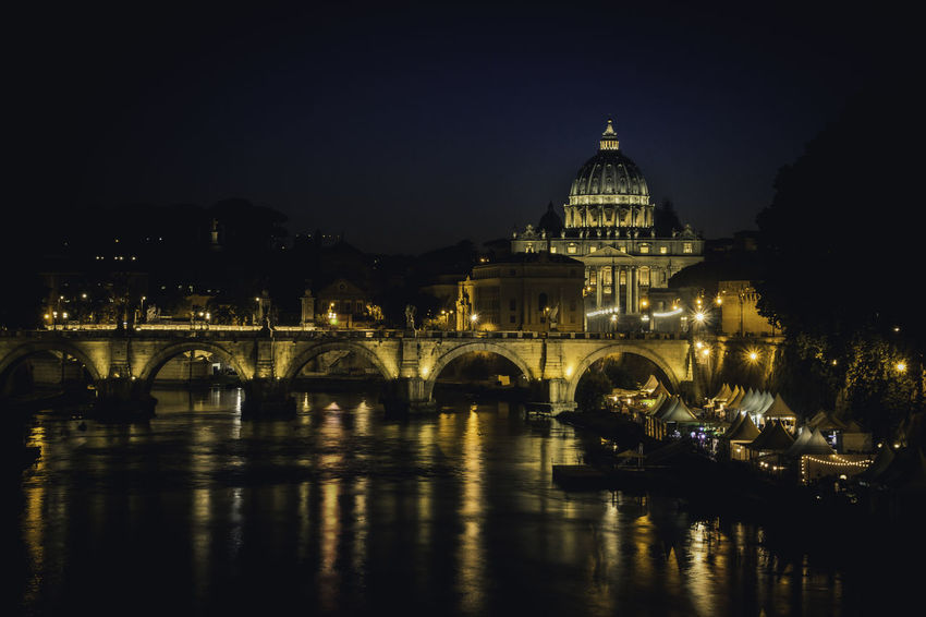 Petersdom und Engelsbrücke bei Nacht Ancient Cityscape Engelsbrücke Landscape_Collection Reflection Roma Rome Rome By Night Rome, Italy Tiber River Travel Travel Photography Vatican VaticanCity Ancient Architecture Architecture Cityphotography History Illuminated Italy Landscape Ponte Sant'Angelo Reflection Rome Italy Travel Destinations Your Ticket To Europe The Week On EyeEm EyeEmNewHere