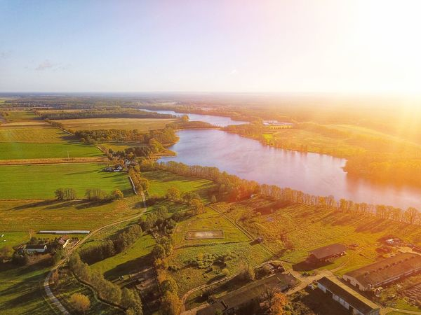 Rehfelde Grünheide Germany Brandenburg Landscape Lake Aerial View Beauty In Nature Tranquil Scene Nature Tranquility No People Scenics Outdoors High Angle View Agriculture Rural Scene Day Sky Water