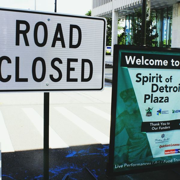 EyeEm Selects Text Western Script Communication Day Outdoors No People Close-up Fuel Pump Road Closed Sign City Of Detroit Sign