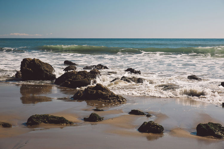 California El Matador Beach Pacific Beach Beauty In Nature Clear Sky Day Horizon Over Water Motion Nature No People Ocean Outdoors Rock - Object Scenics Sea Shore Sky Tranquil Scene Tranquility Water Wave