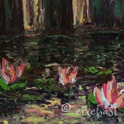Left part. Sample. Canvas. Oil Painting . Le Bassin aux Nymphéas. Série 'Ponton' 2/3. Huile sur Toile. 90X30.