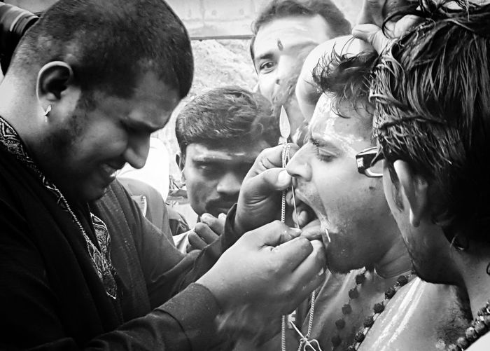 Ceremony Archival Men Adult Outdoors People Day Crowd Adults Only Trance Thaipusam Thaipusam 2017 Hinduism Hindu Tamil Religion And Beliefs Religion Vel Piercing Piercing Tongue Piercing Cheek Piercing Batu Caves -Malaysia Batu Caves Sacrifice Prayer Resist