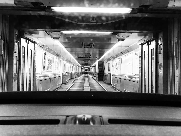 Black And White Friday Perspective Transportation Rail Transportation Travel Window No People