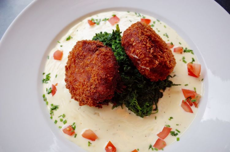 Fish cake with bechamel sauce Plate White Sauce Fish Fish Cake London Haddock Seafood Food And Drink Ready-to-eat Food Healthy Eating Plate Serving Size Freshness