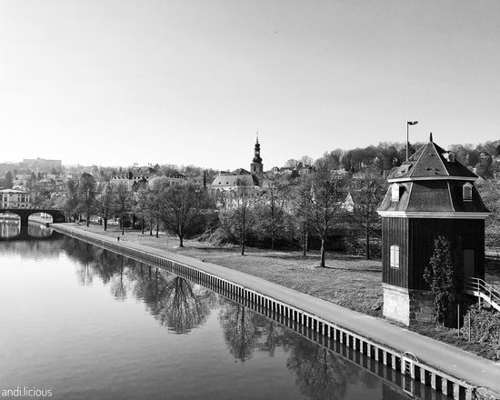 old saarbruecken Architecture Clear Sky Water Bridge - Man Made Structure Travel Destinations Architecture Streetphotography City Blackandwhite On The Way Photography Black & White Monochrome Monoart Shootermag AMPt - Street AMPt_community Streetphotographer B&w Street Photography Monochrome Photography Shades Of Grey AMPt Community Reflections Tree Church