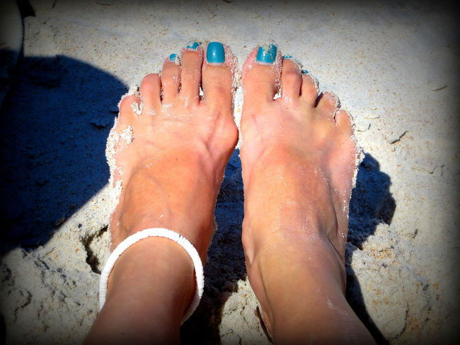 Toes in the sand... Adult Barefoot Beach Close-up Day High Angle View Human Body Part Human Foot Human Leg Leisure Activity Lifestyles Low Section Nail Polish One Person Outdoors People Personal Perspective Real People Relaxation Sand Toes In The Sand Vacations Vignette Water