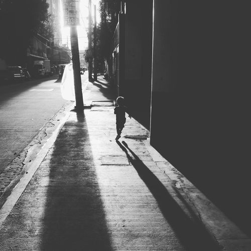 Running Shadow Black And White Street Photography Monochrome