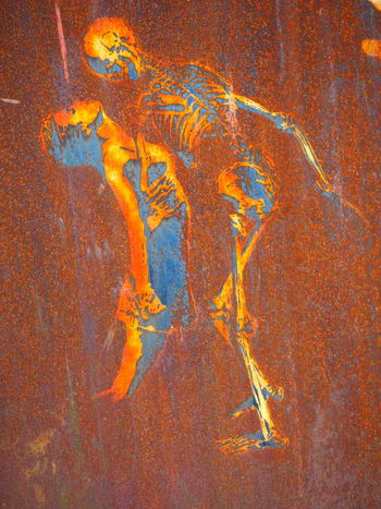 Abstract Art Backgrounds Close-up Creativity Dancing Day Detail Deterioration Full Frame Girl La Demeure Du Chaos No People Orange Color Paint Rusty Skull Skeleton 43 Golden Moments Color Palette