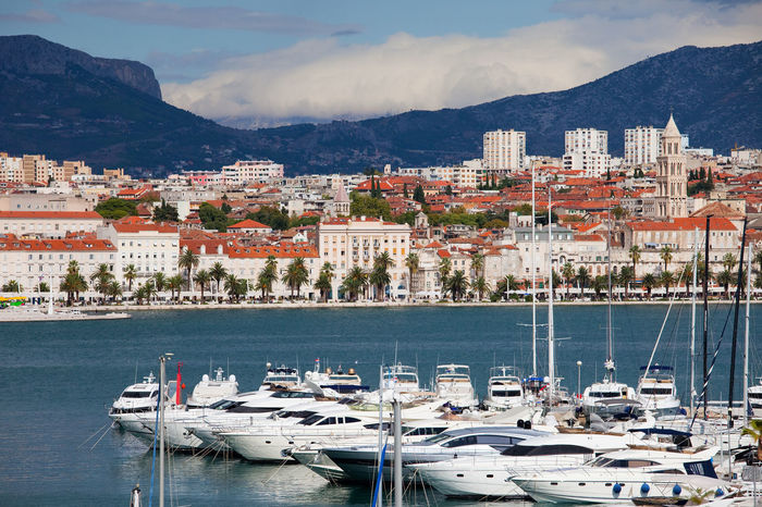 City of Split in Croatia, luxurious yachts on the Adriatic Sea bay City City Skyline Croatia Marina Skyline Split Architecture Boats Built Structure Cityscape Dalmatia Europe Harbor Hobby Luxurious Mode Of Transport Moored Nautical Vessel No People Sea Split Croatia Transportation Water Yacht Yachting