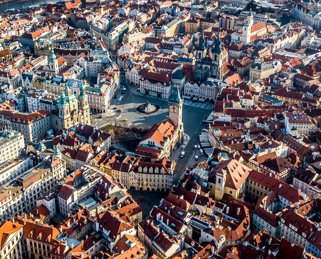 Architecture Building Exterior High Angle View Built Structure Cityscape Crowd City Roof Residential District Building Crowded Aerial View Day Town House Nature Community Outdoors TOWNSCAPE City Prague Aerial Photography Sunrise Church Roof