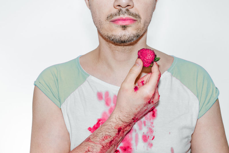 Strawberry Pink Pink Color Fruit Food Healthy Healthy Eating One Person Men Man Mess Messy Eater Stain Portrait White Background Human Lips Studio Shot Headshot Front View Lipstick Pink Lipstick  Make-up