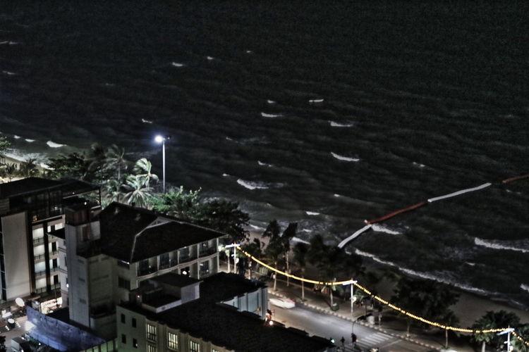 Night Lights Night View Night Waves Night Wind Nightphotography Pattaya Sea Wind