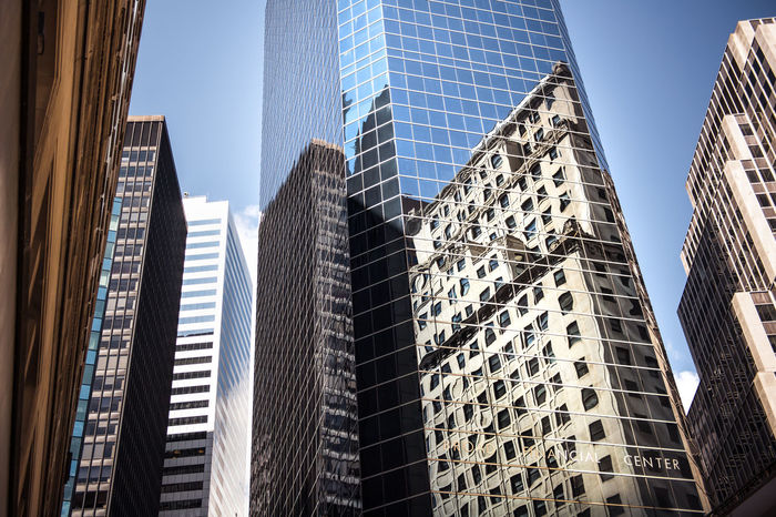 Buildings and reflections Architecture Big Apple Buildings Built Structure City Cityscape Downtown District Low Angle View Manhattan Mirror Modern New York NYC Reflexions Sky Skyscraper The Architect - 2017 EyeEm Awards Tower Urban Skyline
