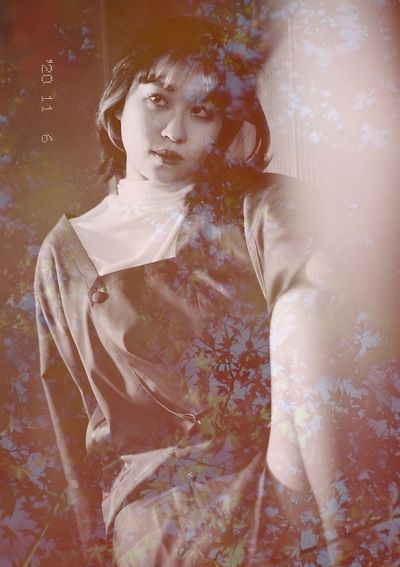 Digital composite image of young woman