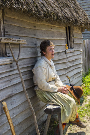 Sitting Relaxation House Mature Adult One Man Only One Person Outdoors Building Exterior Day People Lifestyles Pilgrim Travel Destinations Farm Rural Scene EyeEmNewHere Plymouth Plantation Massachussets