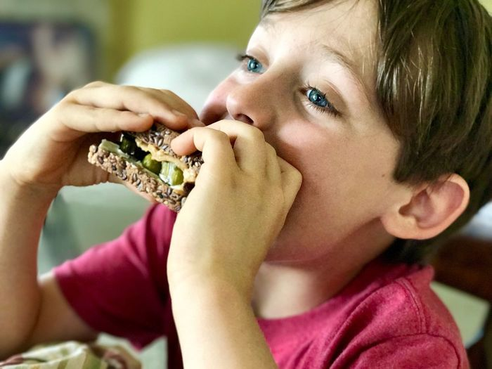 Blue Eyes At Home Child Boy Sandwich Food Eat Hands Close-up One Person Food And Drink Food Eating Real People Focus On Foreground Holding Portrait Childhood