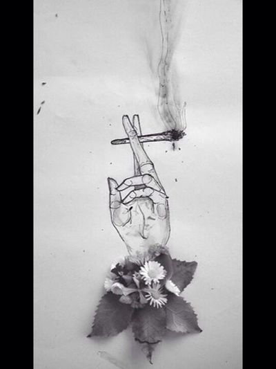 Drawing Flower Hands Cigarette