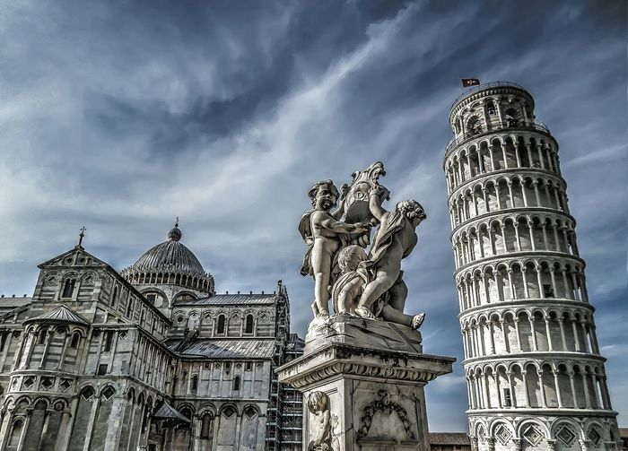 Piazza dei miracoli against cloudy sky in city