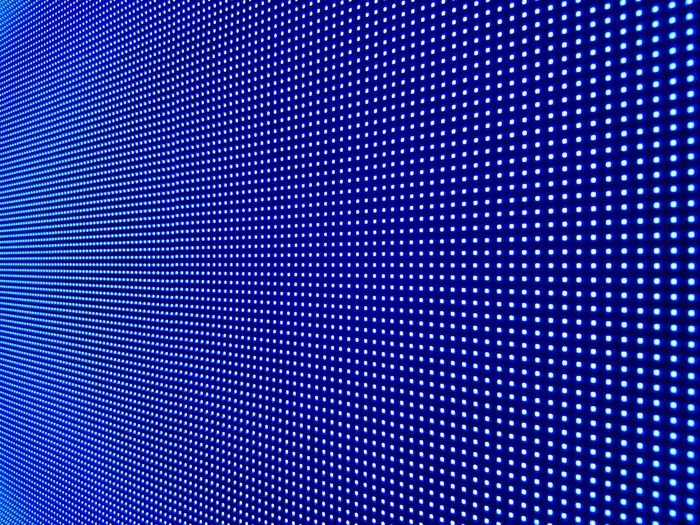 Close-up of illuminated blue led lights at night