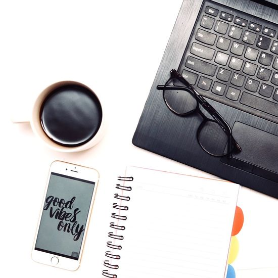 Good vibes work space with hot black coffee is just perfect combination. Laptop Workspaceflatlays Flatlays Blackcoffee Hotcoffee Workspaceessentials Workspace Coffee - Drink Coffee Coffee Cup Glasses Cup Mug Note Pad Spiral Notebook Drink Pen Table Communication Wireless Technology Directly Above Technology Eyeglasses  High Angle View Still Life Indoors  Publication