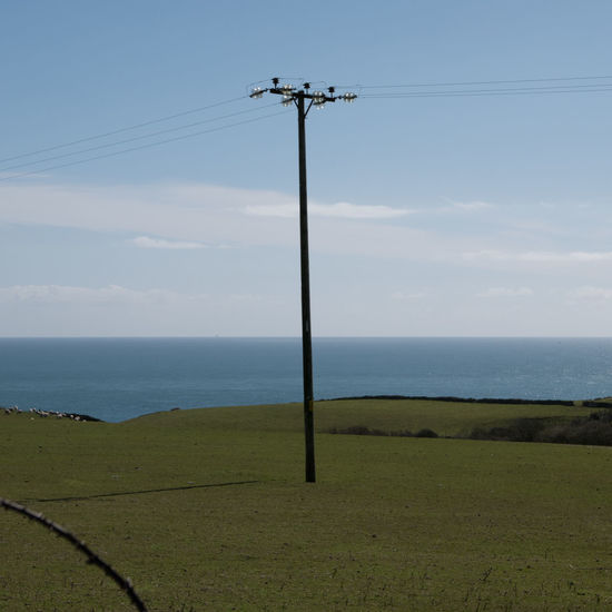 Cable Pole Power Line  Rural Sea Sky Telegraph Water Cornwall