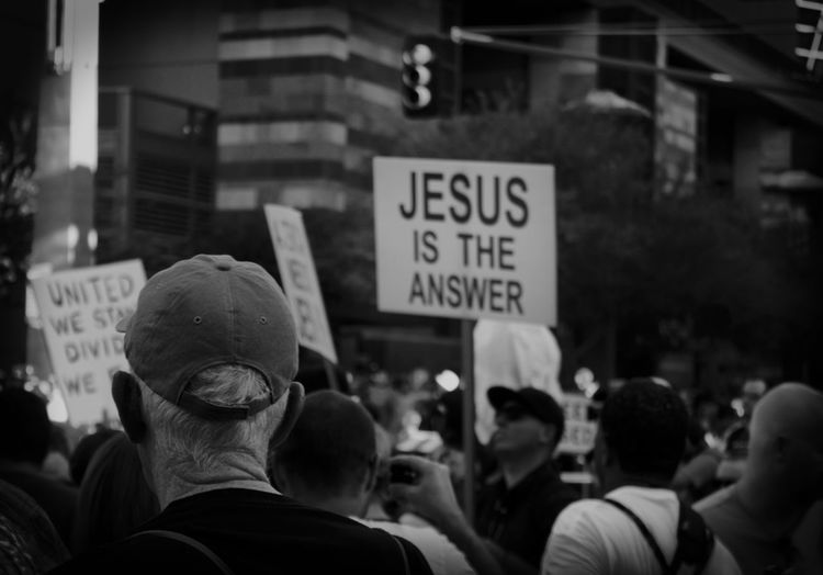 Jesus is the answer Black And White Photography Street Photography Jesus Is The Answer Christian Society Religion Protesters Trump Protest Jesus Christ Jesus Text Group Of People Protest Crowd Communication Large Group Of People Western Script Real People Sign City Street Social Issues Aggression