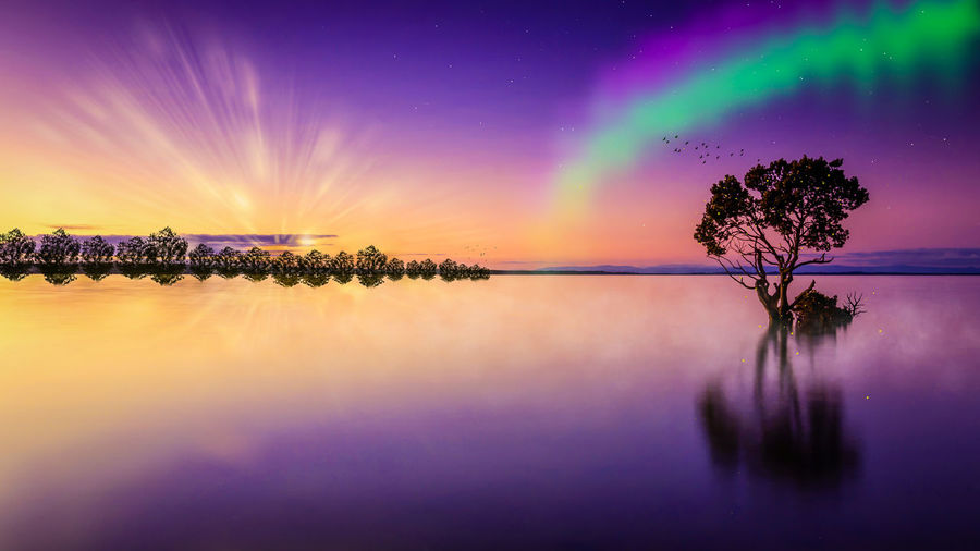 Aurora Borealis Cloud - Sky Dream Horizon Over Water Island Lac Nature Nature Photography Nature_collection Reflection Sky Sun Sunset Water