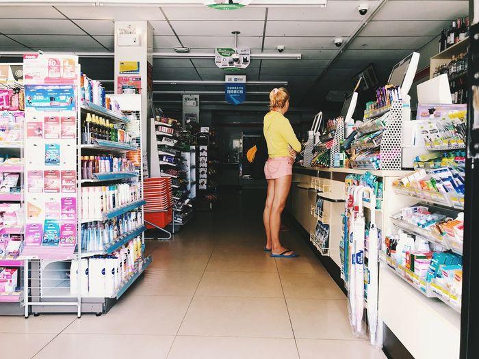 Full length of man standing in store