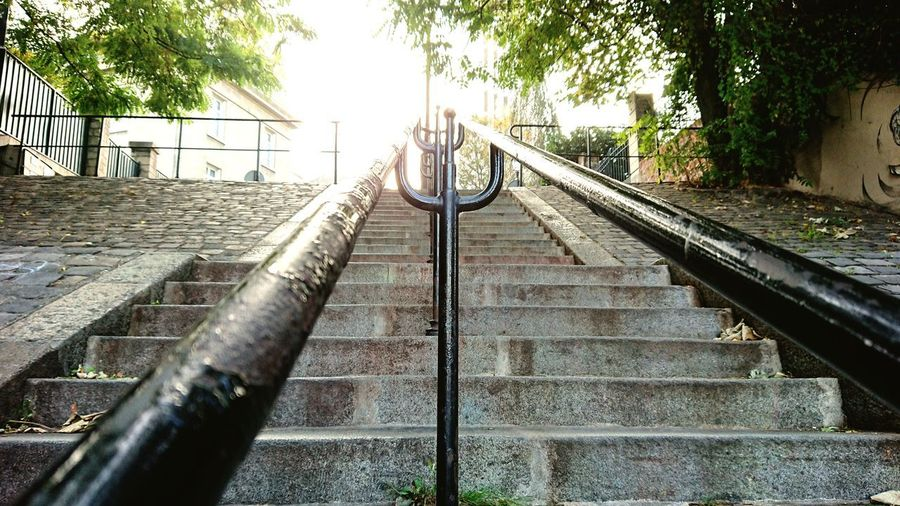 Steps City Paris, France  Quiet Street Tree Railing Sky Hand Rail Stairs Urban Scene Stairway Steps And Staircases