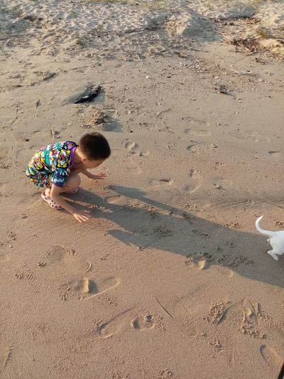 High angle view of boy on sand at beach