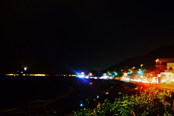 Inamuragasaki Shonan Kamakura Beach Night Light Taillamp Lamp Cars Colorful