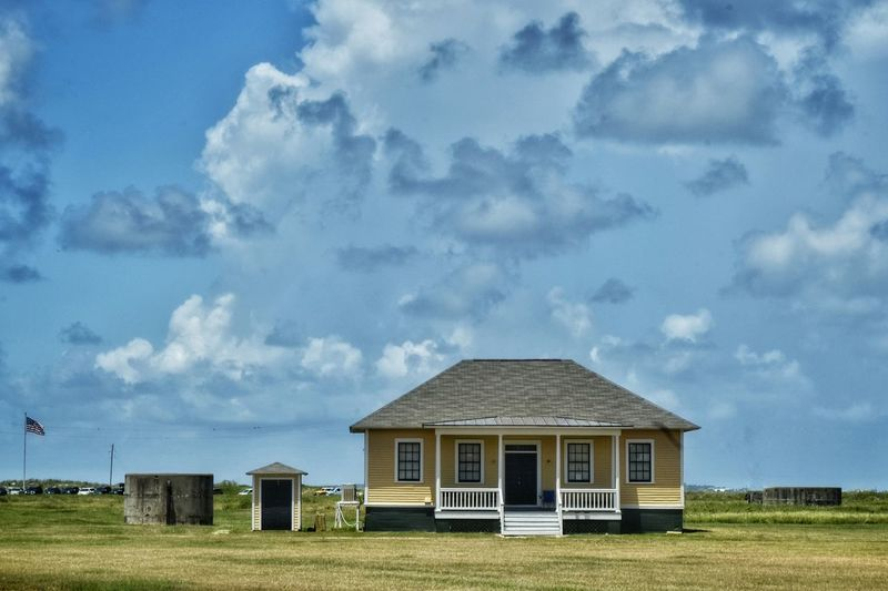 House Sky Blue Sky Clouds Yellow Porch Field Lonely House Shed Flag