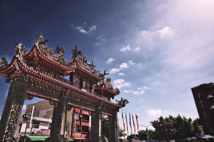 """Architecture Low Angle View Building Exterior Built Structure Sky Outdoors Day No People Tree Nature Gateway Arch Tainan City Anping """" Old city """" LeicaSL Snapseed Editing  EyeEmNewHere Taiwan Capture The Moment Leicastoresg"""