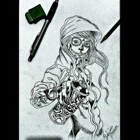 Catrina Art Sketch Gangster last Drawing