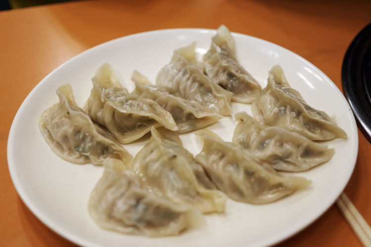 Close-up of gyoza