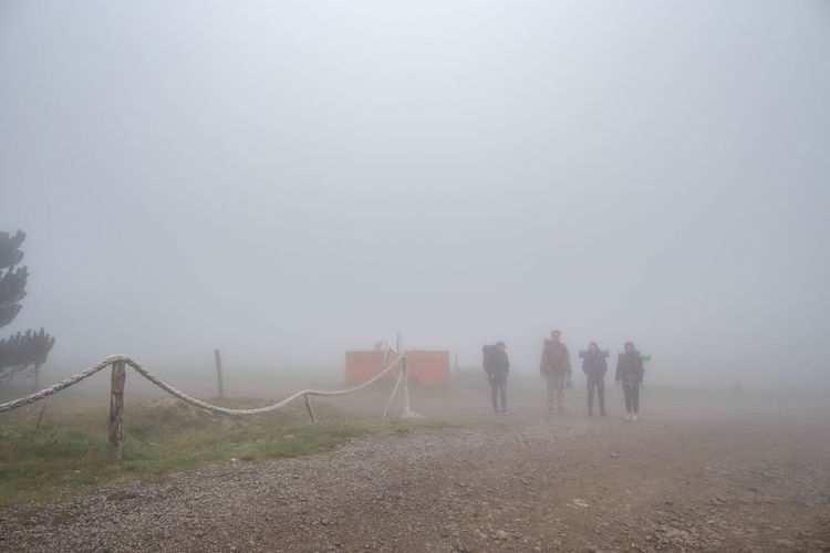 Fog Group Of People Nature Real People Sky Men People Landscape Walking Day Land Beauty In Nature Lifestyles Environment Tranquility Leisure Activity Rear View Outdoors Group