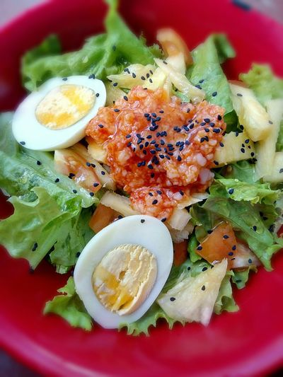 Close-Up Of Fresh Salad Served In Red Bowl